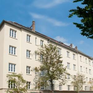 """Die Aussenansicht des Betreuten Wohnen """"Am Parkbogen"""" im Leipziger Stadtteil Sellerhausen"""